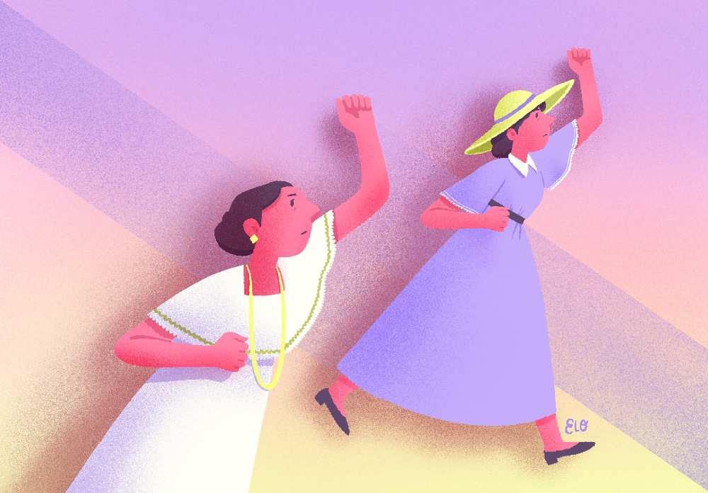 Hay dos mujeres alzando el brazo izquierdo y avanzando. Una es una mujer mestiza yucateca con vestido blanco y collar largo, la otra es una mujer argentina con sombrero y vestido de mangas.